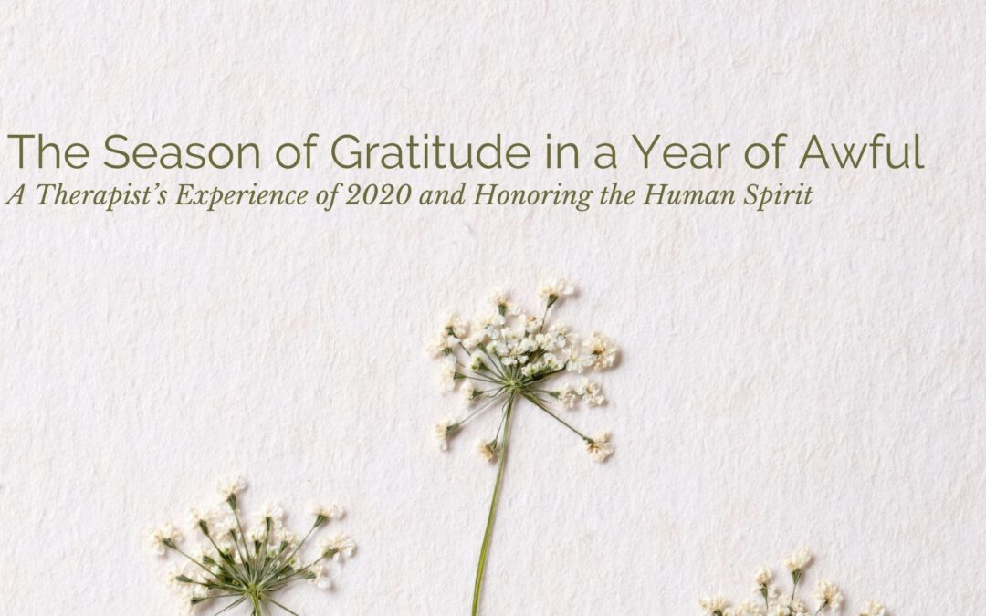 The season of Gratitude in a Year of Awful- A Therapist's Experience of 2020 and Honoring the Human Spirit