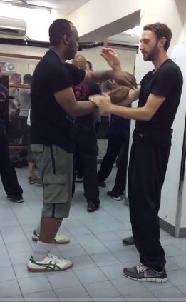 Chi Sao practice with student from Turkey
