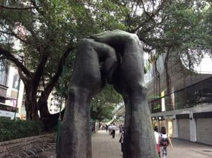 Statue of kung fu greeting in Hong Kong