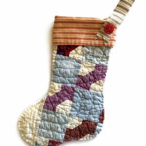 Isabella Handcrafted Cards Vintage Quilt Stocking Gingham Vintage Tree Quilt Hanger