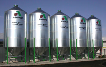 Seed bins utlized by an Asgrow dealer.
