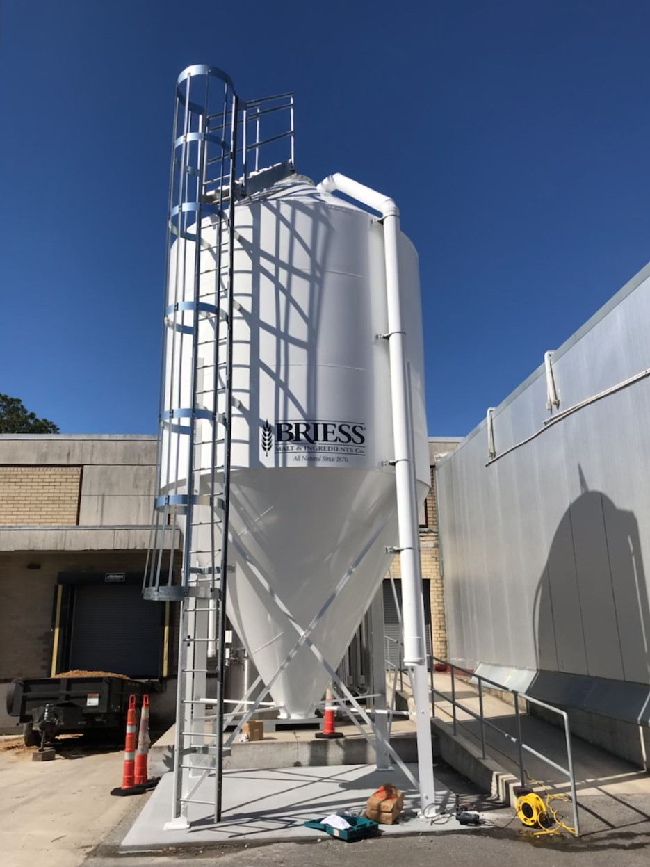 Silos for breweries and distilleries. Sized and customized to specifications. Grist hoppers also available.