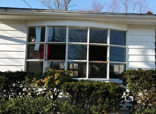 Before-Bay window converted to picture window and double hung bay