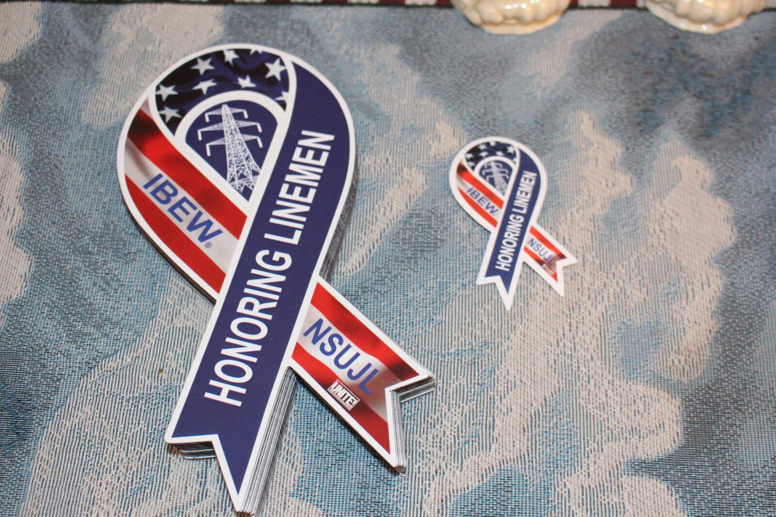Fallen Linemen Awareness Ribbon hard hat stickers