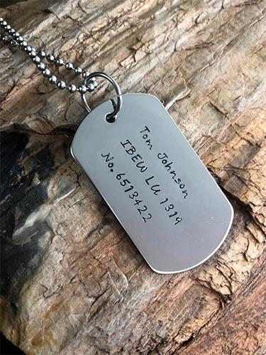 Custom Lineman Stamped Dog Tags