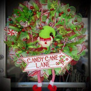 Candy Cane Lane Elf Wreath