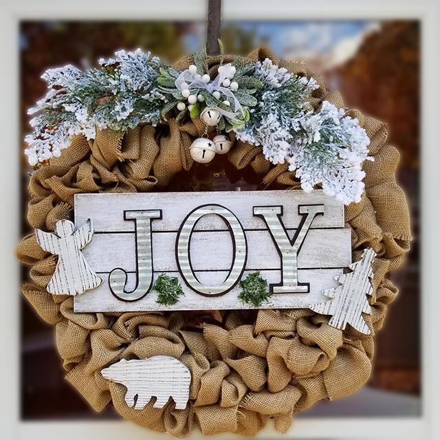 Burlap Joy to the World Wreath