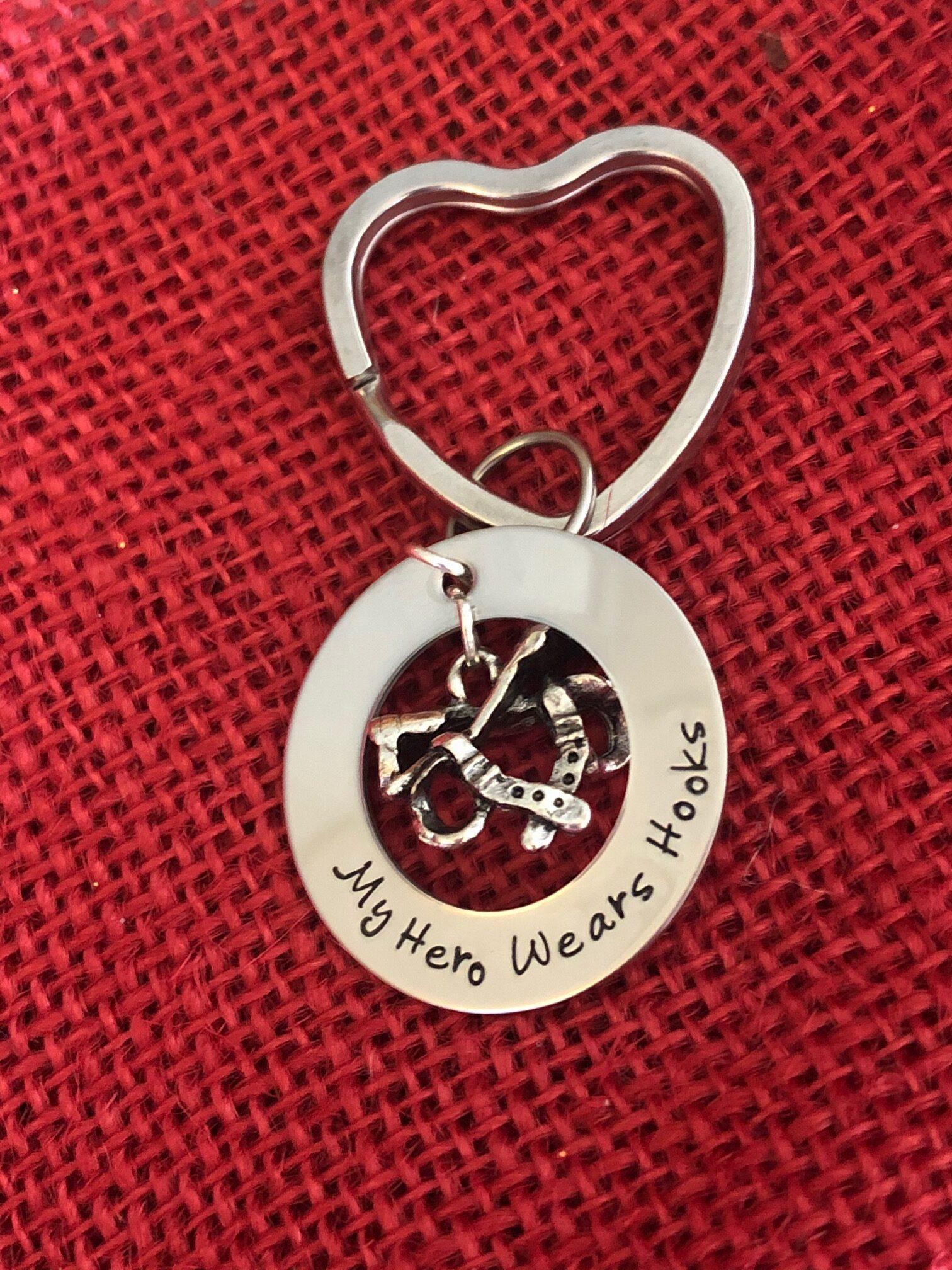 My Hero Wears Hooks Keychain