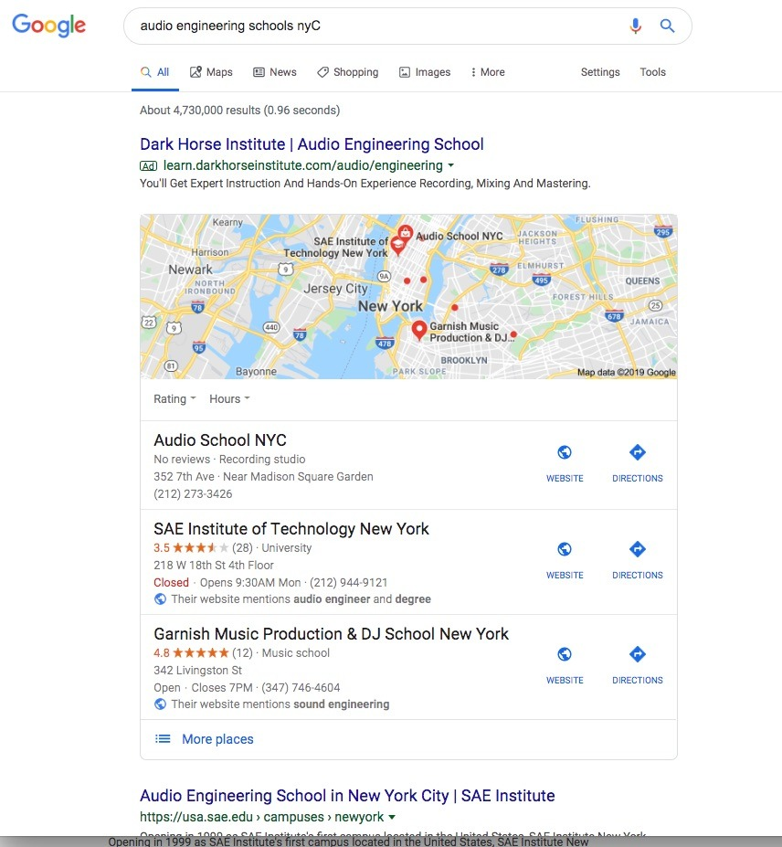 Audio Engineering Schools in NYC and or Recording Studio Internship 1