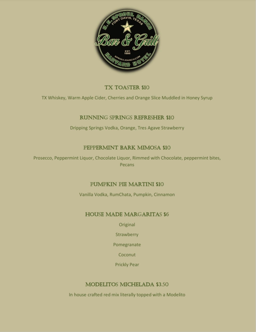 Our Fall Drink Menu