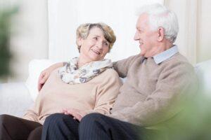 Senior couple talking