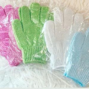 exfoliating gloves pink green white blue
