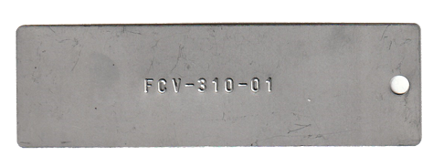 1.10 x 3.50 tag embossed with 1 line of .125 font