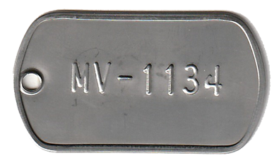 1.125 x 2.00 tag embossed with 1 lines of .25 font