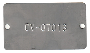 1.53 x 2.69 embossed with 1 line of .25 font