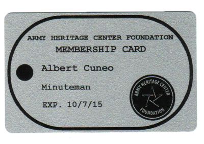 Army Heritage Center membership card Al
