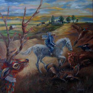 "Oil on canvas 36"" x 36"""