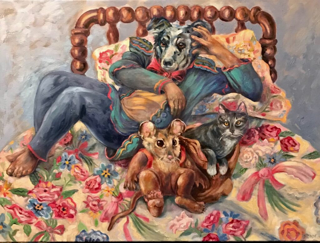 """"""" Gretta likes Flowered sheets"""" oil on canvas  30"""" x 40"""""""