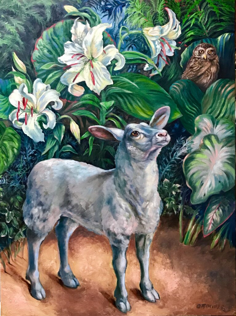 """""""She had a Little Lamb"""" oil on canvas 40"""" x 48"""""""