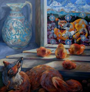 """""""The Lion and the Lamb"""" Oil, 40""""x40"""""""