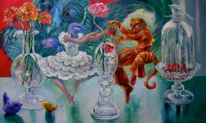 """""""Beauty and Beast , Celebrate Strawberries and Chambord""""   oil on canvas 36"""" x 60"""""""