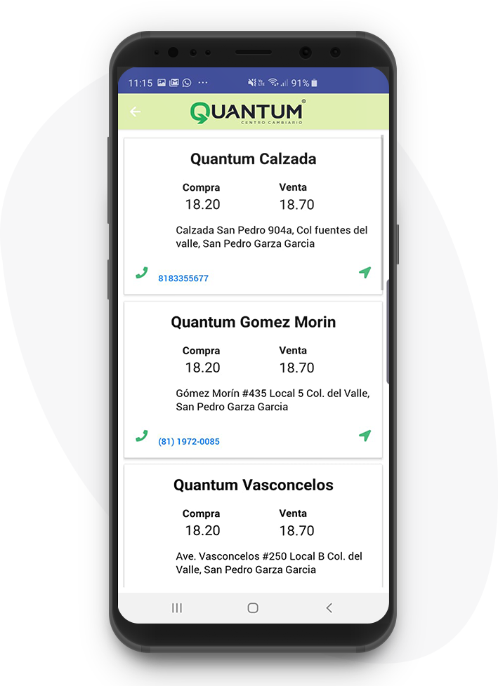 Ubica tu sucursal más cerca con la app móvil de Quantum