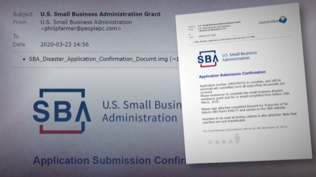 Example of a SBA Phishing Email