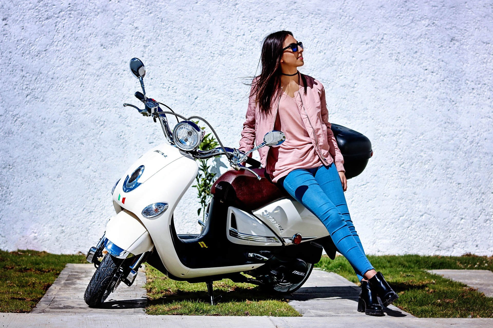 Lady with moped