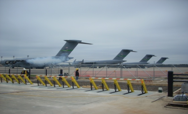 Crash-rated barriers at Pope AFB