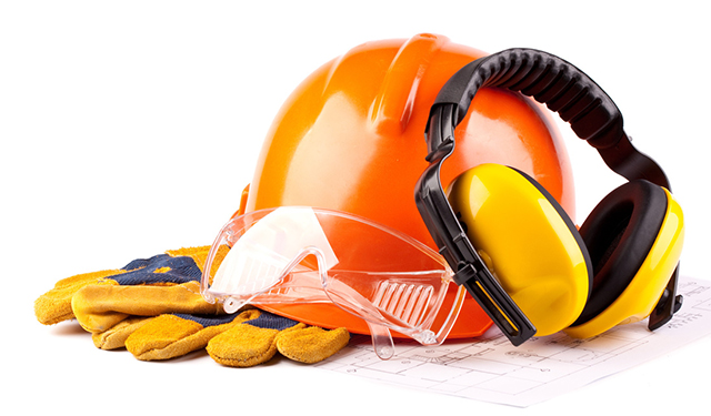 Safety helmet, glasses, gloves, and earmuffs