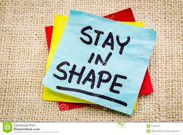 Stay in shape post-it stock photo