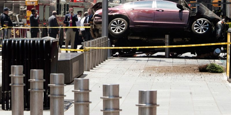 Security Bollards stop a car during the 2017 Time Square car crash