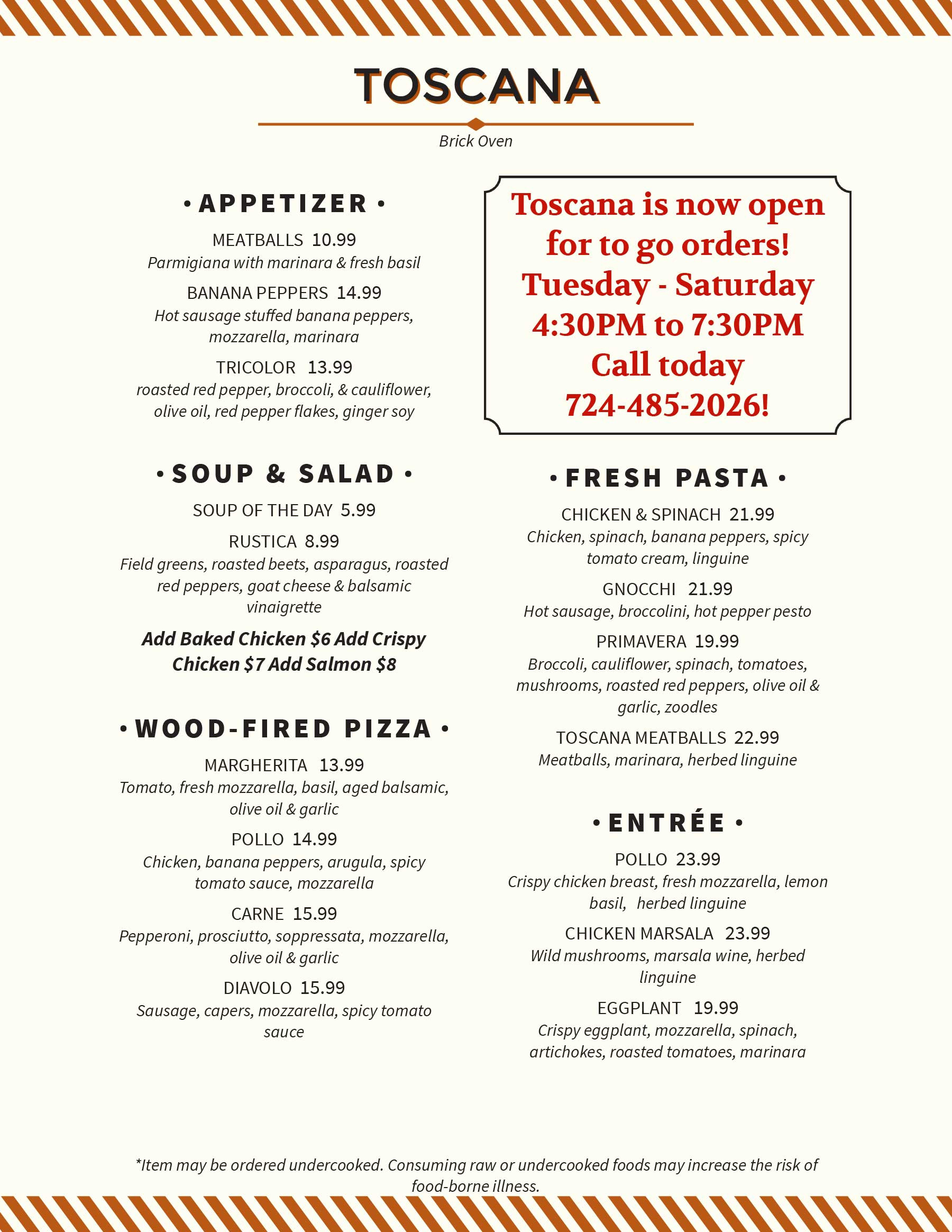Toscana Brick Oven To-Go Menu