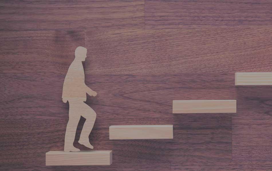 Court Mandated Housing - Man walking up court steps
