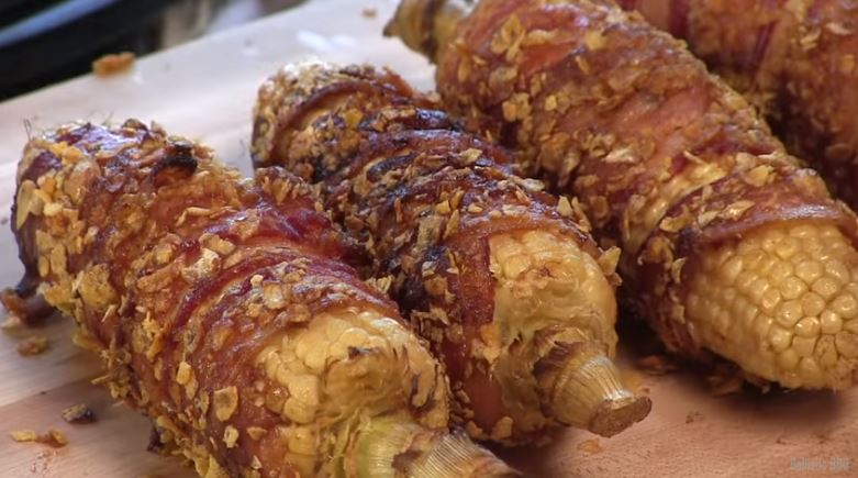 Bacon Wrapped, Crunchy BBQ Corn On The Cob