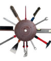 concept of tools behind rusty saw