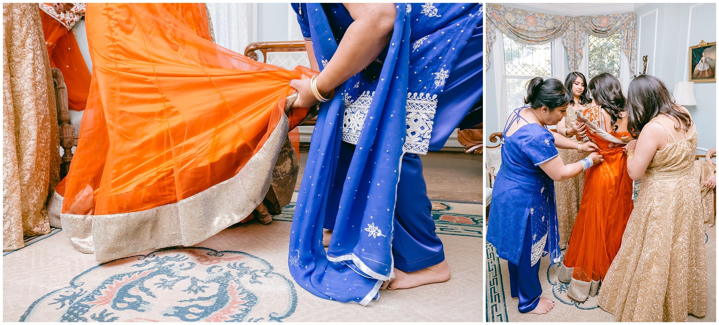 bride getting ready dress saree wedding Washington DC