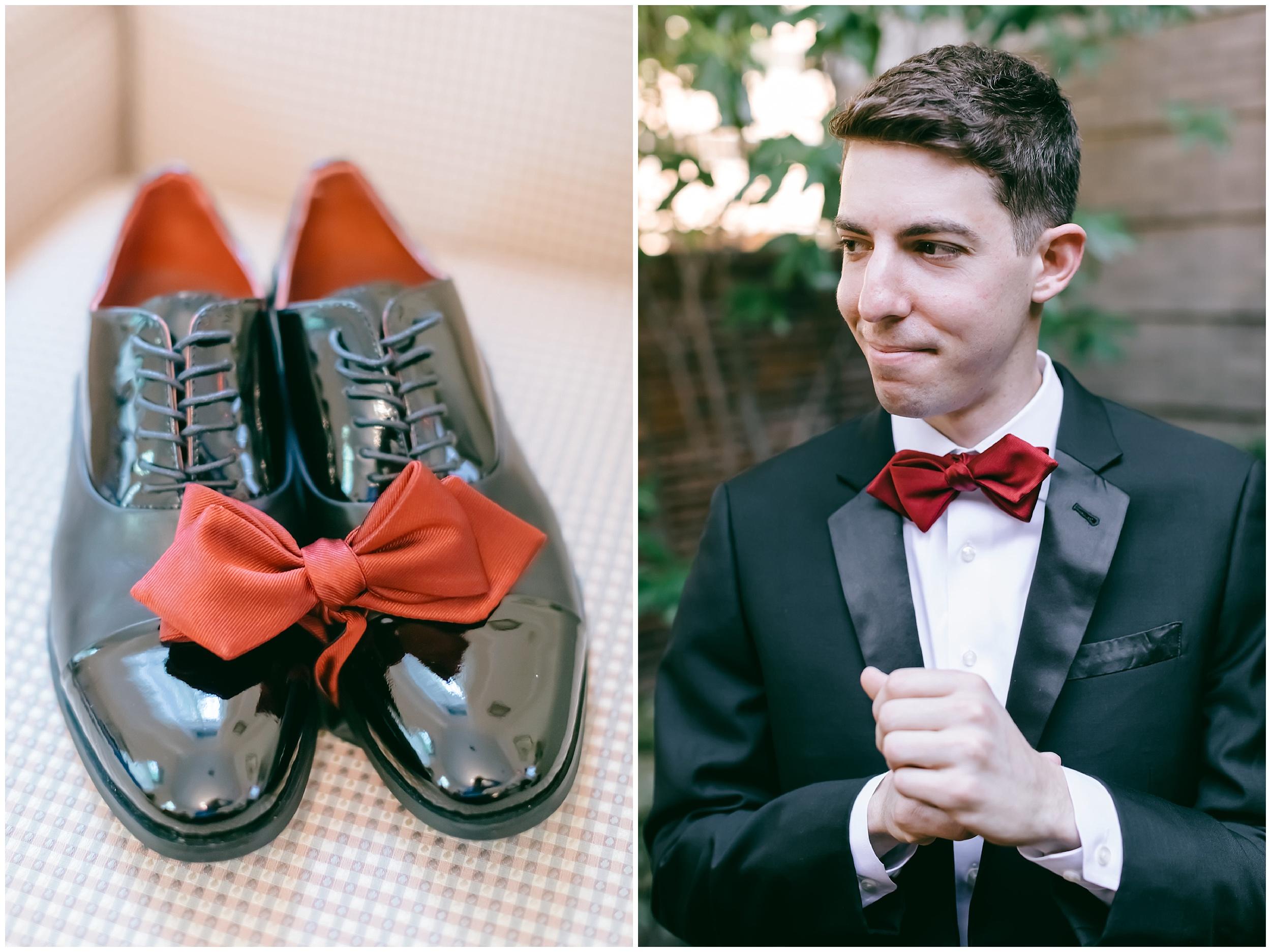 groom getting ready shoes bow tie wedding Washington DC