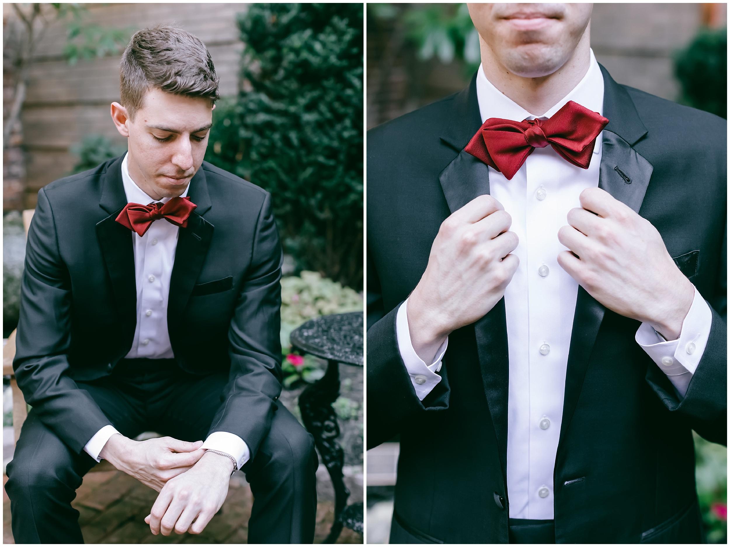 groom getting ready bow tie tux portrait wedding Washington DC