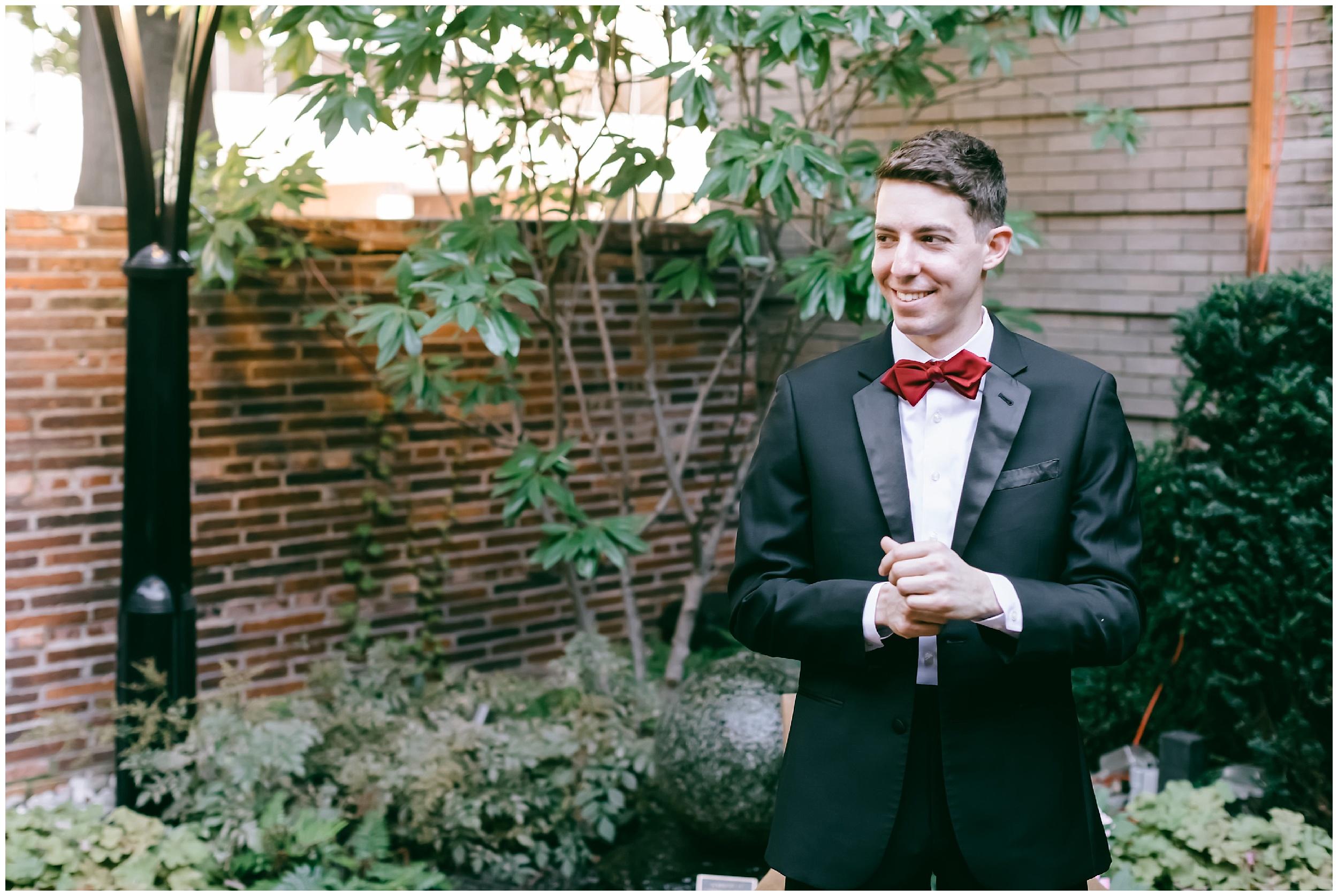 groom getting ready bow tie tux wedding Washington DC