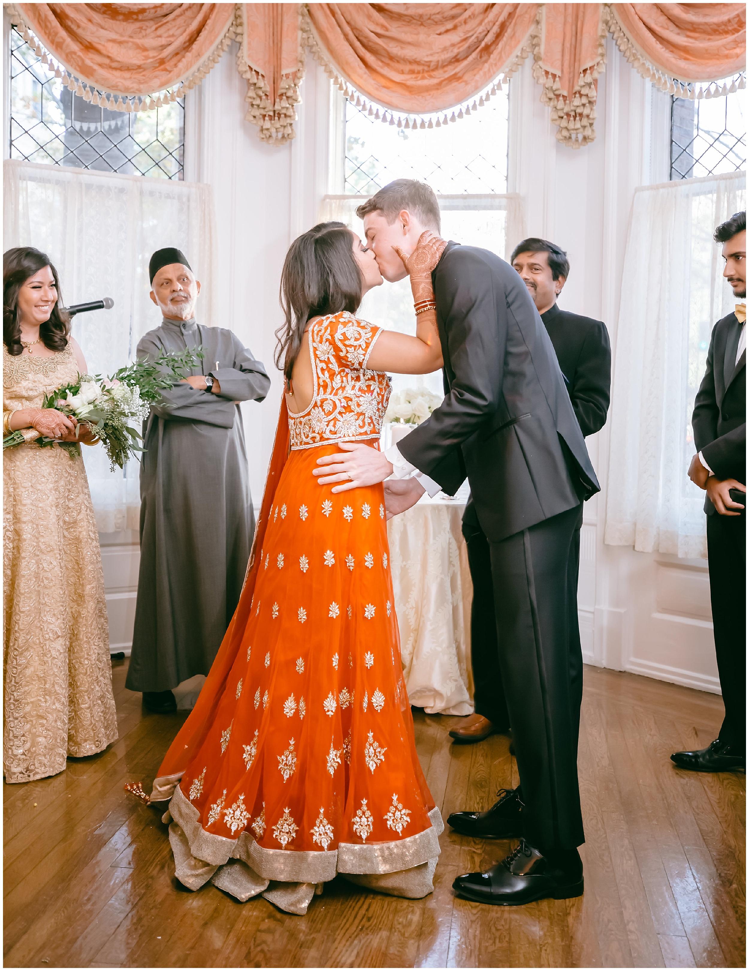 ceremony kiss husband wife Whittemore House wedding Washington DC