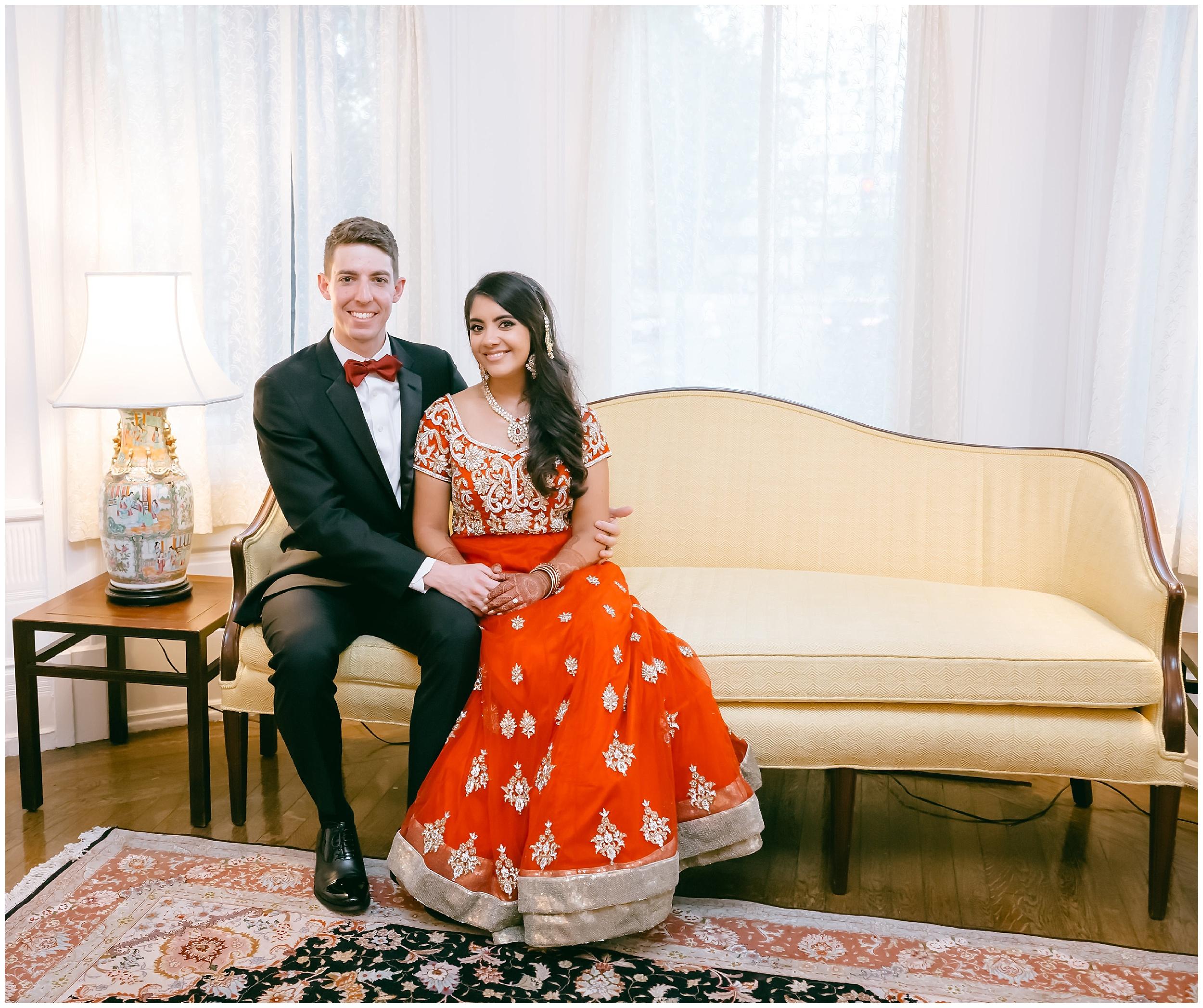 seated portrait bride groom Whittemore House wedding Washington DC