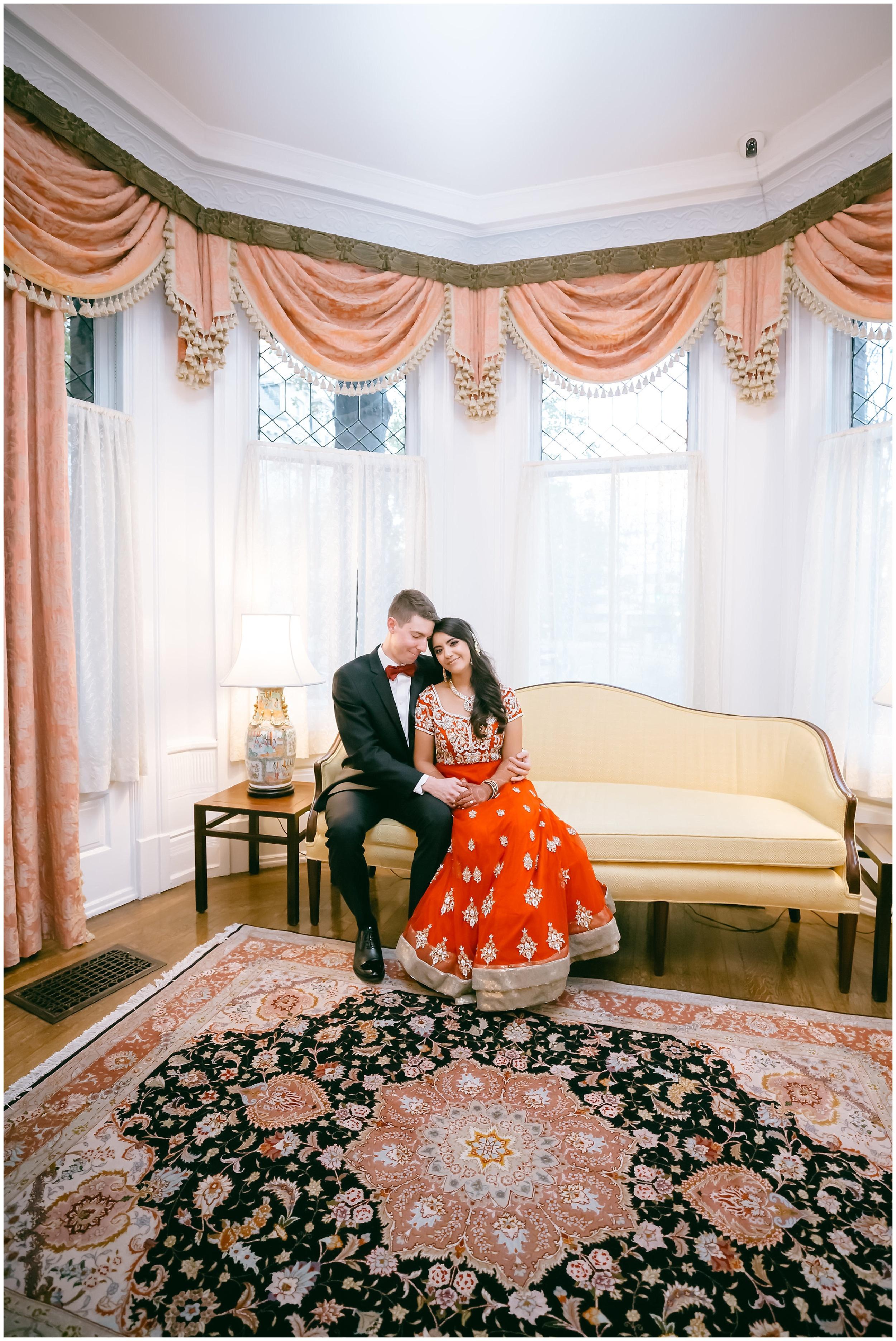 husband wife seated portrait Whittemore House wedding Washington DC