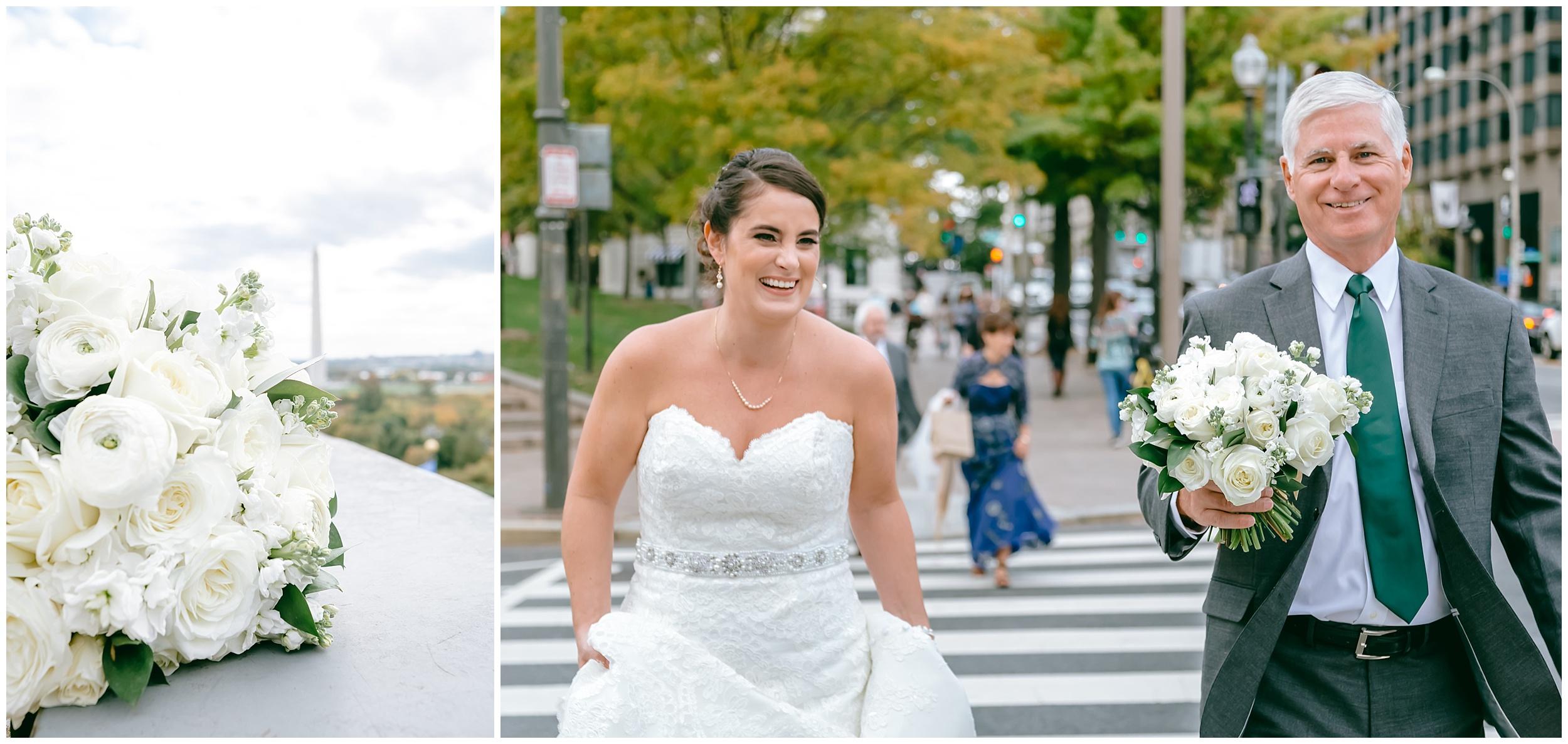 wedding-bride-father-bouquet-crosswalk-walking-washington-dc-photographer