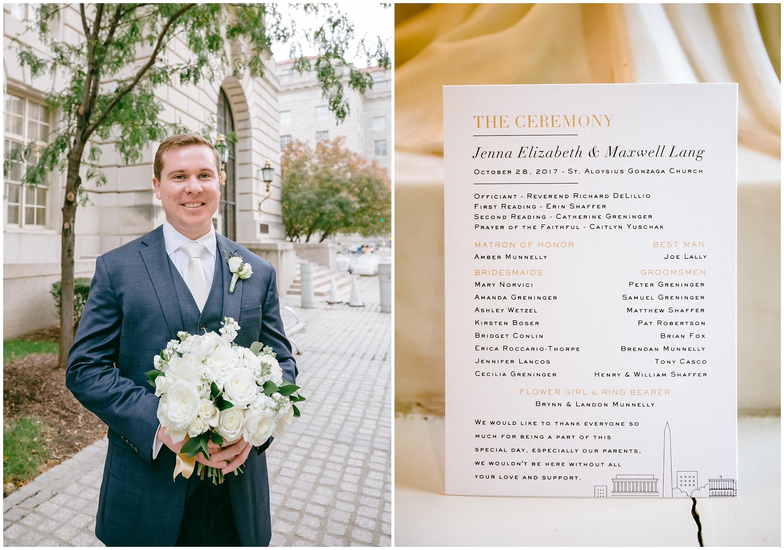 wedding-groom-bouquet-ceremony-program-washington-dc-photographer
