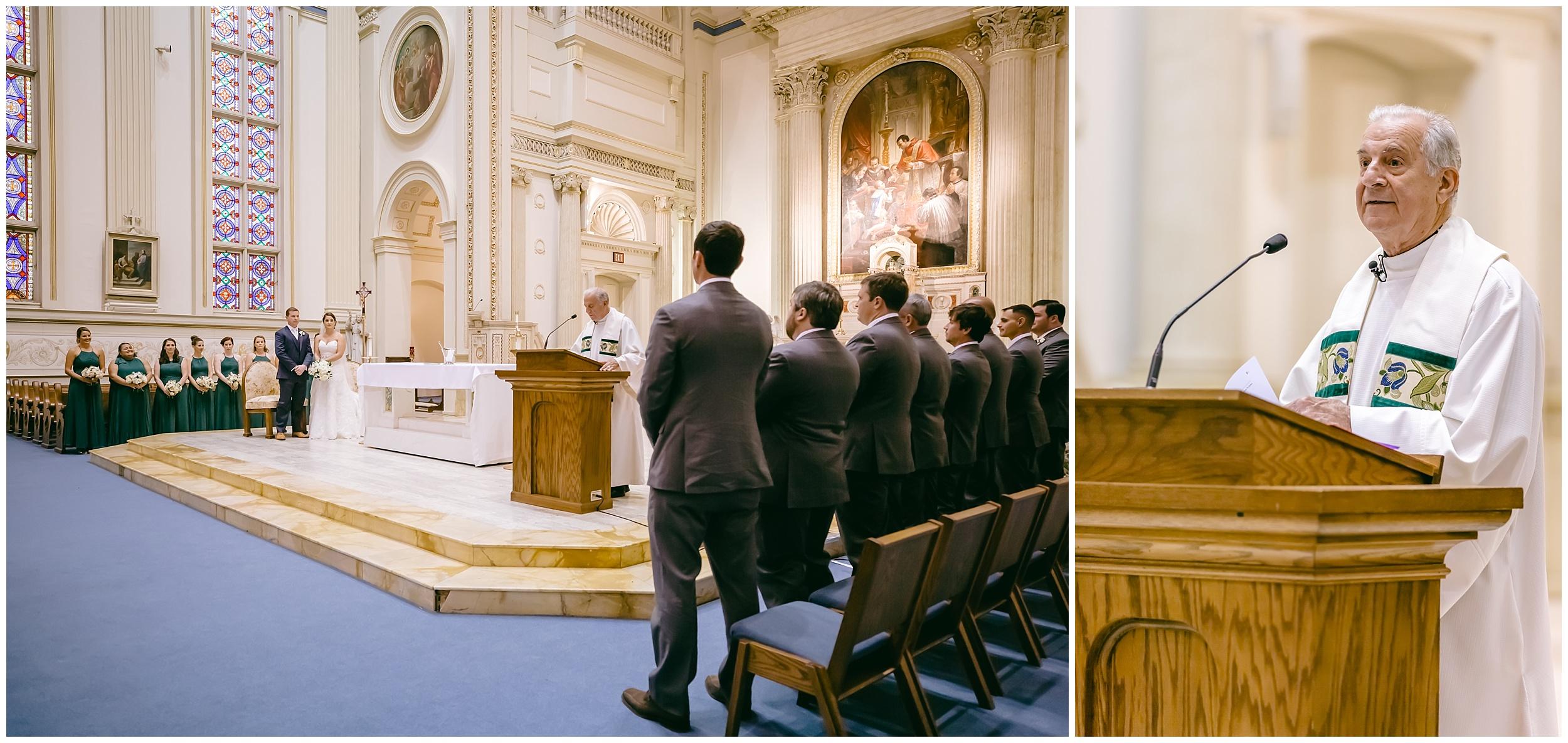 wedding-ceremony-bride-groom-wedding-party-standing-catholic-washington-dc-photographer