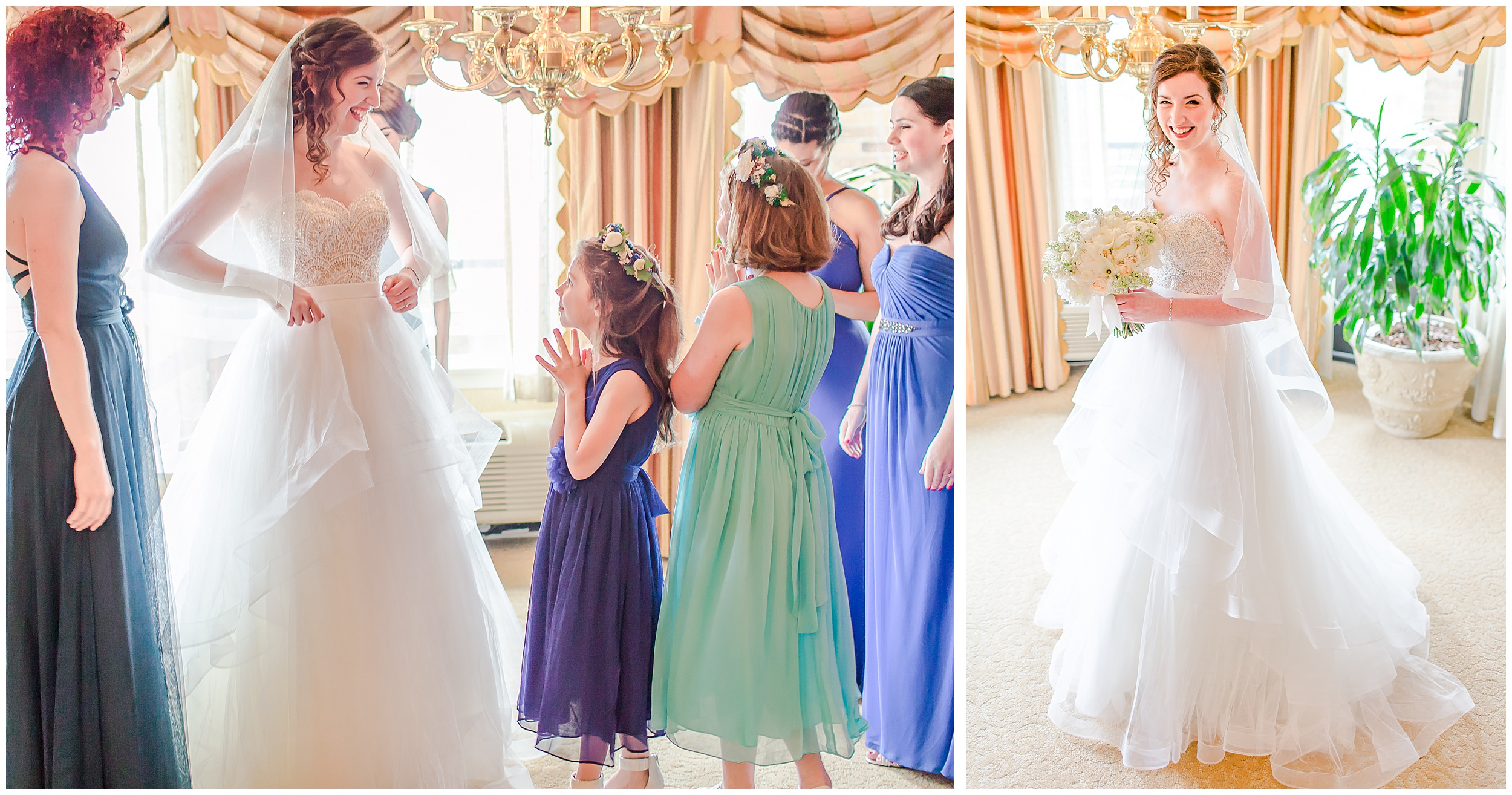 bride-puts-on-dress-bridesmaids