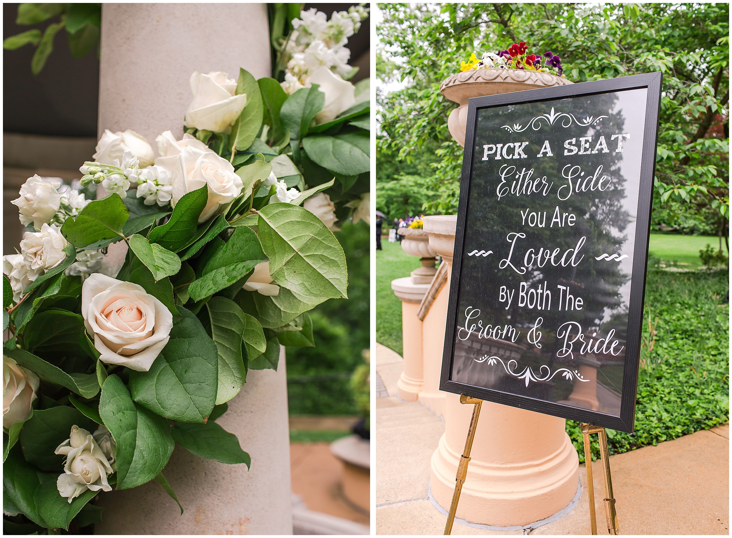 Irish Springtime Omni Shoreham Wedding ceremony-sign-florals-pilars-columns