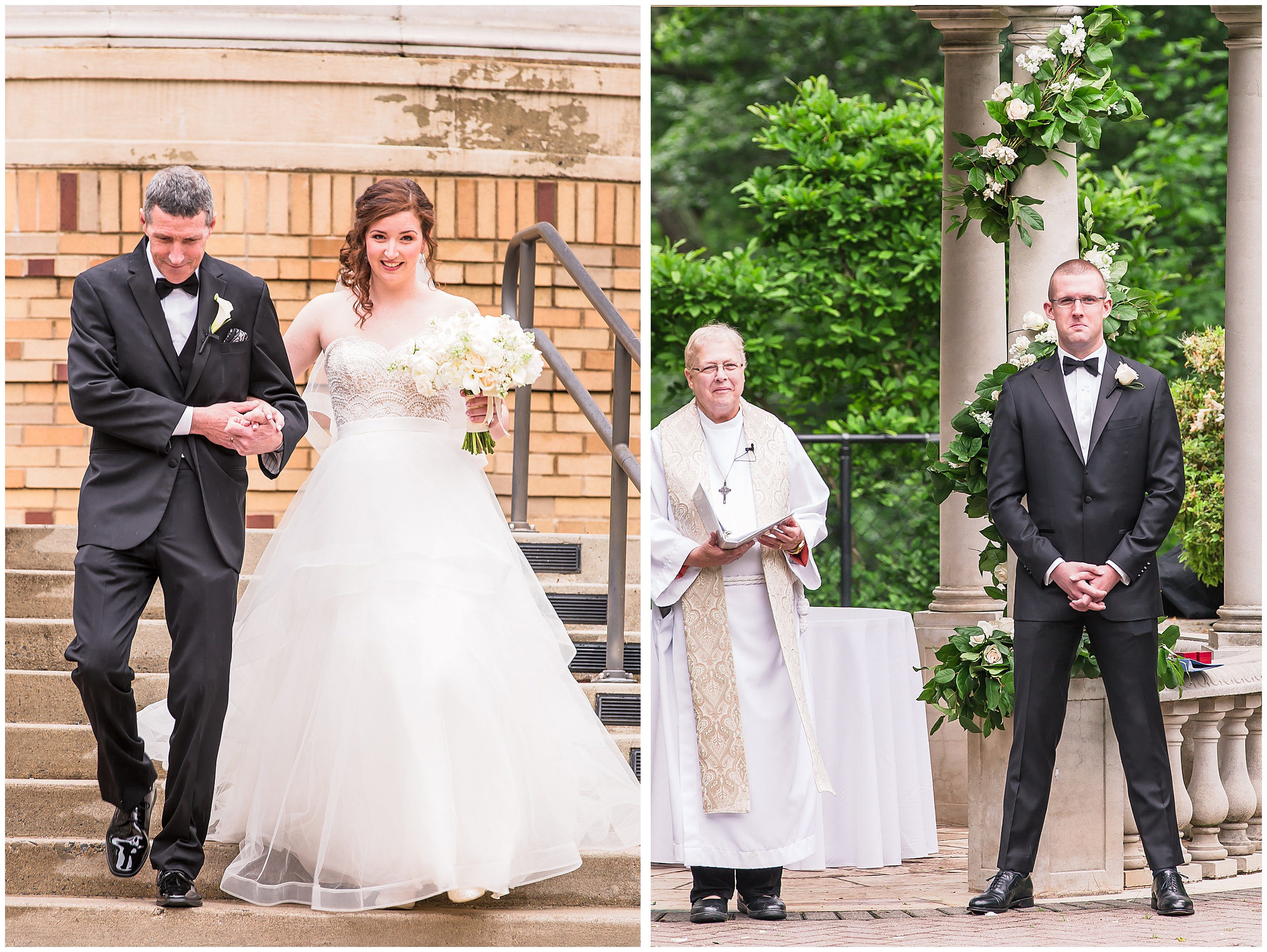 Irish Springtime Omni Shoreham Wedding bride-walking-down-aisle-first-look