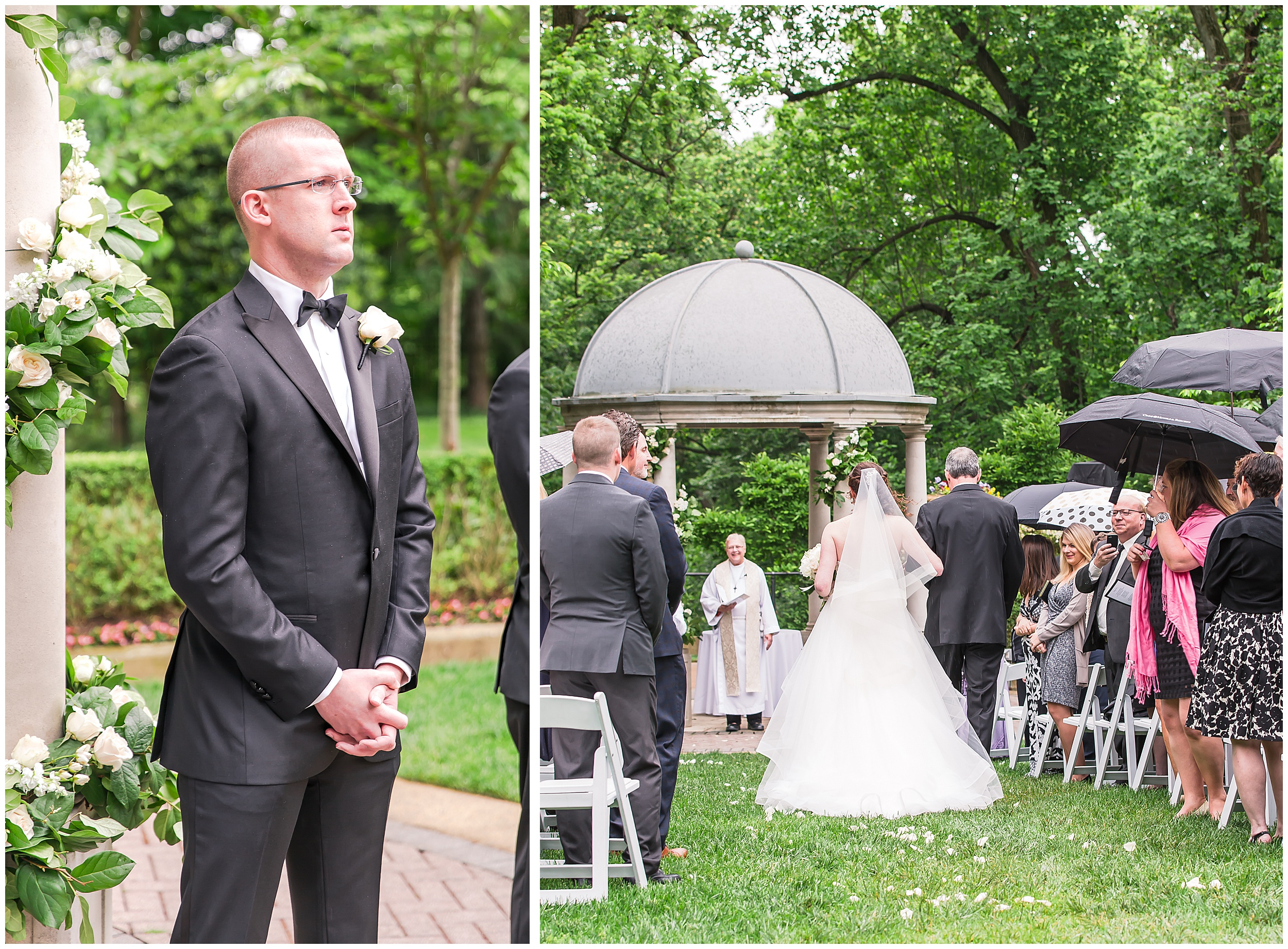 Irish Springtime Omni Shoreham Wedding first-look-down-aisle-groom-bride